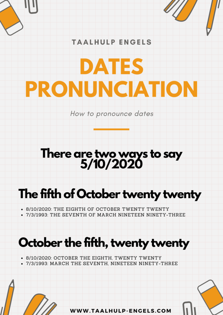 Dates in English Taalhulp Engels