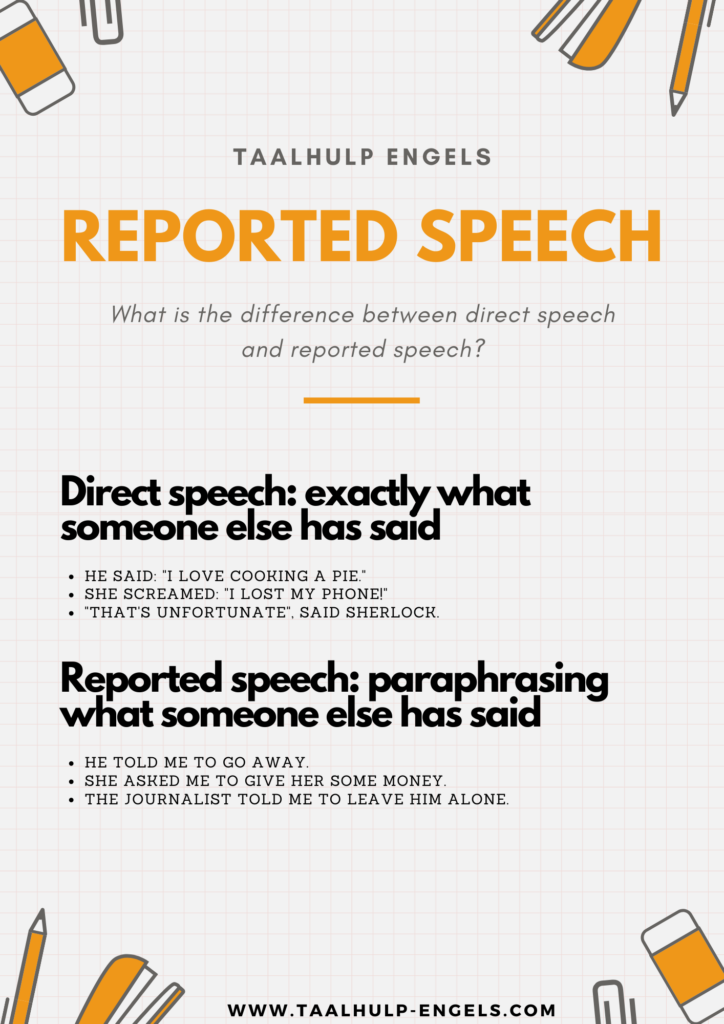 Reported speech in English taalhulp Engels